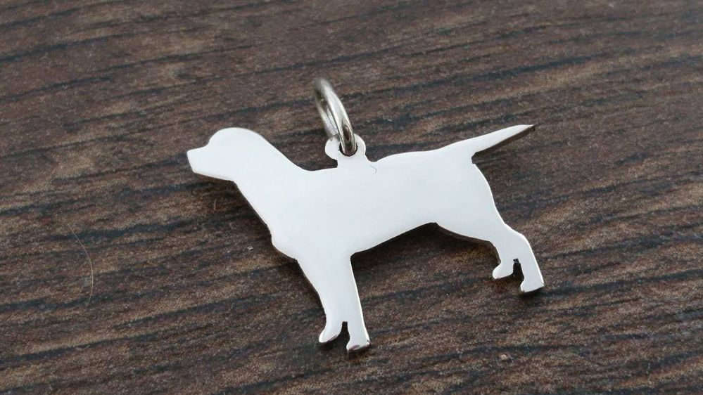 Labrador fullbody Charm silhouette solid sterling silver Handmade in the Uk